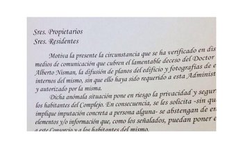 Le Parc pide a los residentes no difundir fotos del lugar   La muerte de nisman