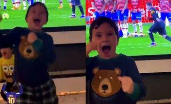 El desaforado festejo de Mateo Messi tras el gol de Lionel | Lionel messi