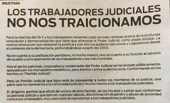 """Trabajadores judiciales cuestionaron a colegas del 18F:  """"No nos traicionamos""""   Justicia"""