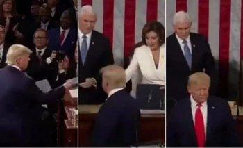 Trump eludió saludar a Pelosi y ella rompió su discurso    Estados unidos