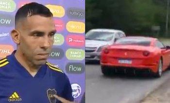 Tevez reavivó la polémica después de utilizar una Ferrari | Video