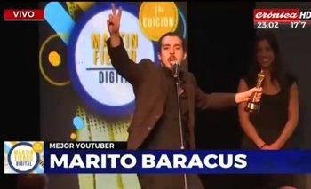 Marito Baracus ganó un Martín Fierro Digital e hizo un festejo peronista | You tube