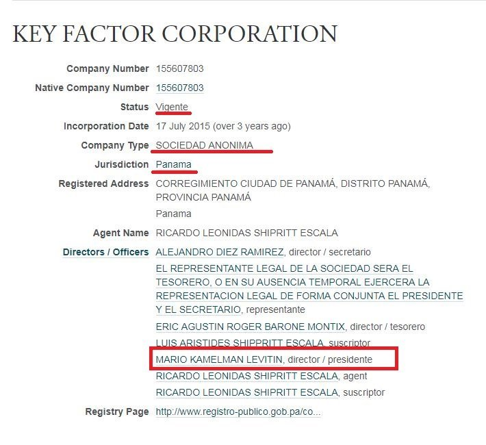Offshore Key Factor Corporation, cuyo presidente es Mario Kamelman Levitin.