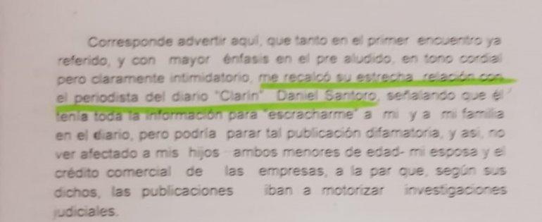 Fragmento de la denuncia de Gabriel Traficante contra Marcelo D`alessio.