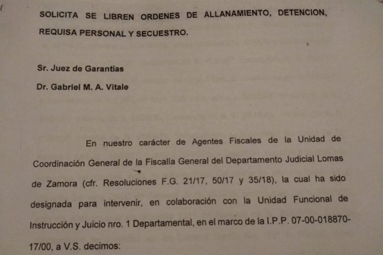 Hoja 1 del borrador entregado por la AFI al juez Luis Carzoglio.