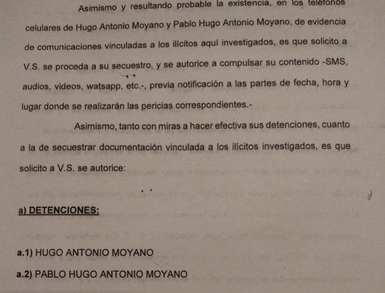 Borrador entregado por la AFI al juez Luis Carzoglio pidiendo detenciones de Hugo y Pablo Moyano.