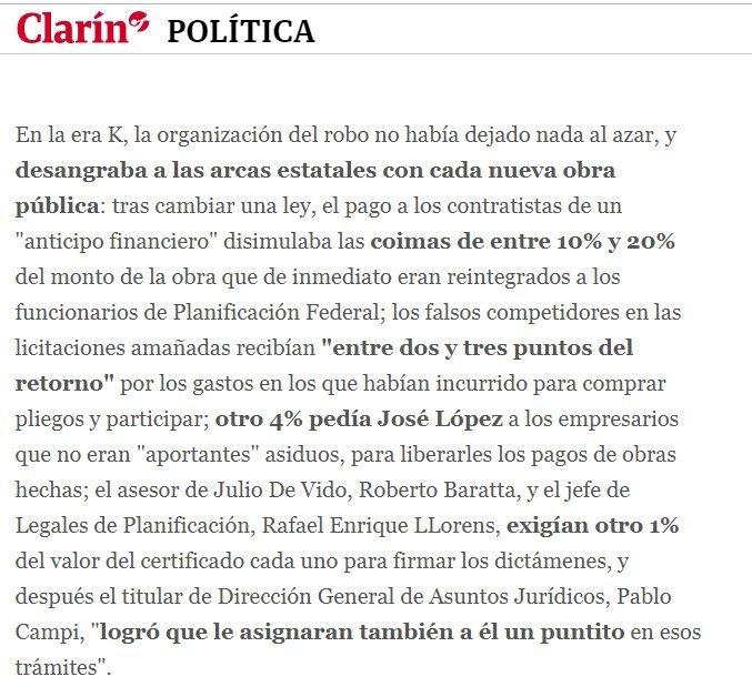 Clarín, 01/08/2016: Según Fariña, Echegaray pedía 5% de coima a los contratistas del Estado.
