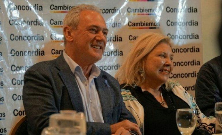 Elisa Carrió junto al candidato de Cambiemos en Entre Ríos, Atilio Benedetti.