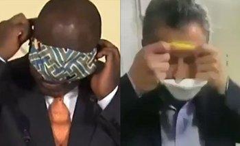Furor por el 'Macri sudafricano' que no supo ponerse su barbijo   Cyril ramaphosa