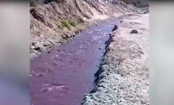 """Insólito video: por un río de Cafayate corrió """"vino tinto""""   Fenómenos naturales"""