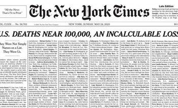 La espeluznante  tapa del New York Times por la pandemia   Coronavirus