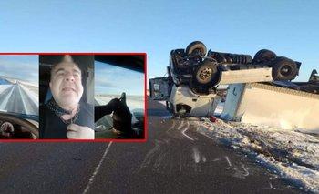 El video del camionero que volcó mientras se filmaba  | Santa cruz