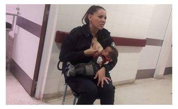 Una mujer policía sorprendió a los médicos cuando amamantó a un bebé | Policía bonaerense