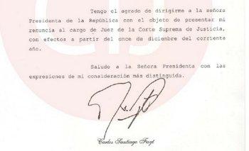 La carta de renuncia de Fayt | Carlos fayt