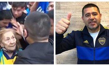 Riquelme alzó a una mujer de 82 años para que no la aplasten | Copa argentina