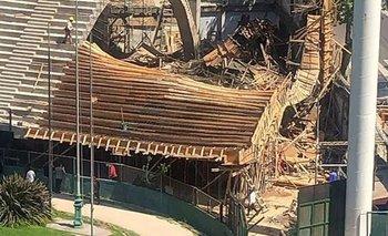 Derrumbe en la cancha de Ferro: hay un herido   Derrumbe