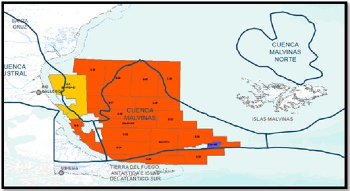 Bloques de Exploración Offshore (108-A2). En naranja oscuro, las áreas 100% titularidad de ENARSA, con excepción de E-2 compartida con ENAP Sipetrol e YPF.