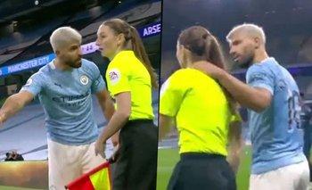Violento gesto del Kun Agüero: agarró a una árbitra del cuello | Premier league