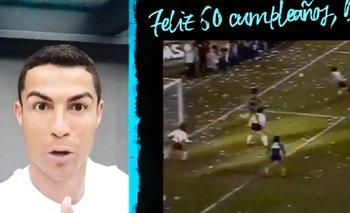 Cumbia y un detalle: el divertido video de CR7 por el cumpleaños de Maradona | Fútbol