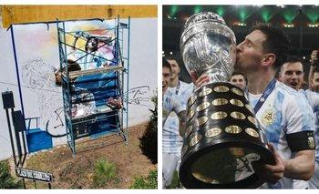 El majestuoso mural dedicado a Messi, Maradona y la Copa América | Copa américa 2021
