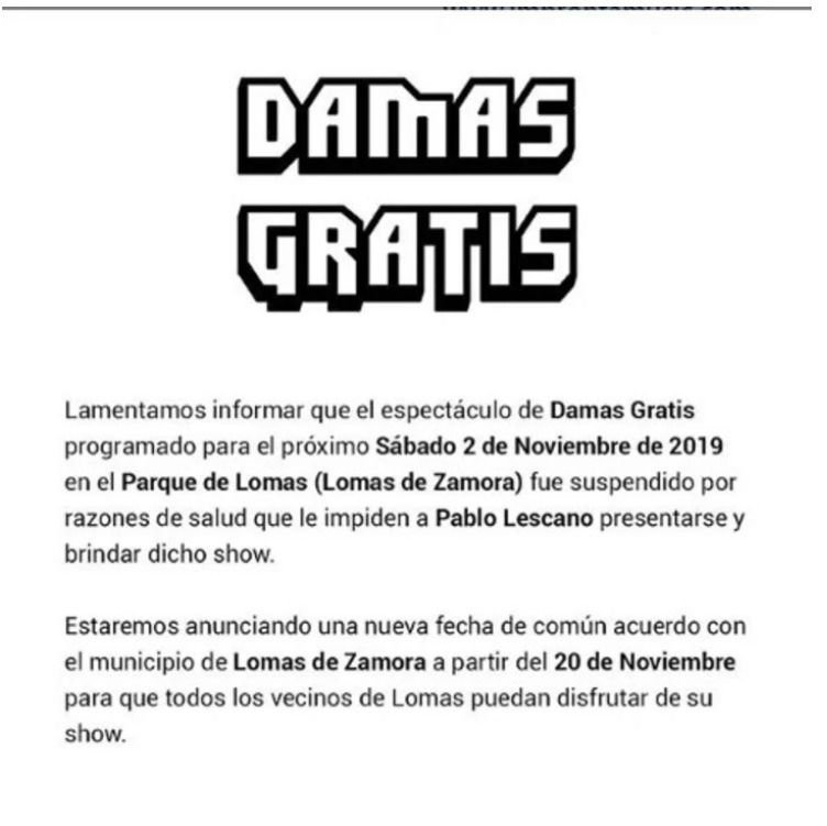Preocupación por la salud de Pablo Lescano: suspenden su próximo show