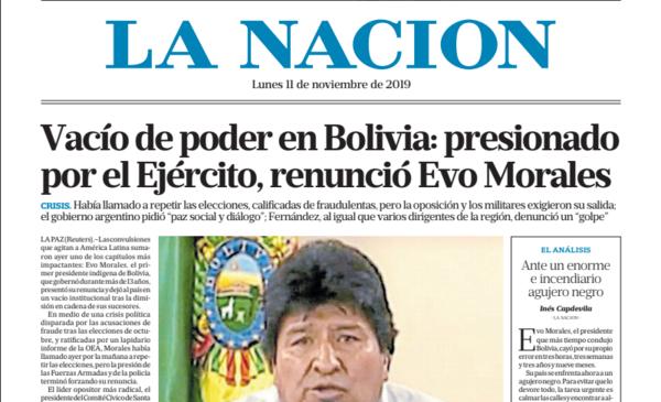 Periodistas de La Nación repudiaron la tapa del diario que niega el Golpe en Bolivia - El Destape