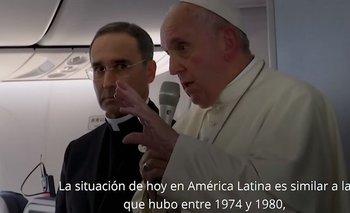 Francisco comparó la situación de Sudamérica con las dictaduras | Papa francisco